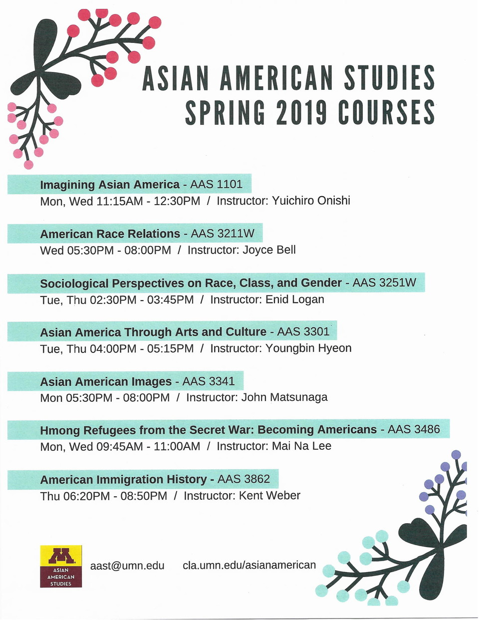AAS Spring Courses